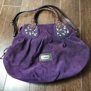 Guess by Marciano purple leather handbag purse